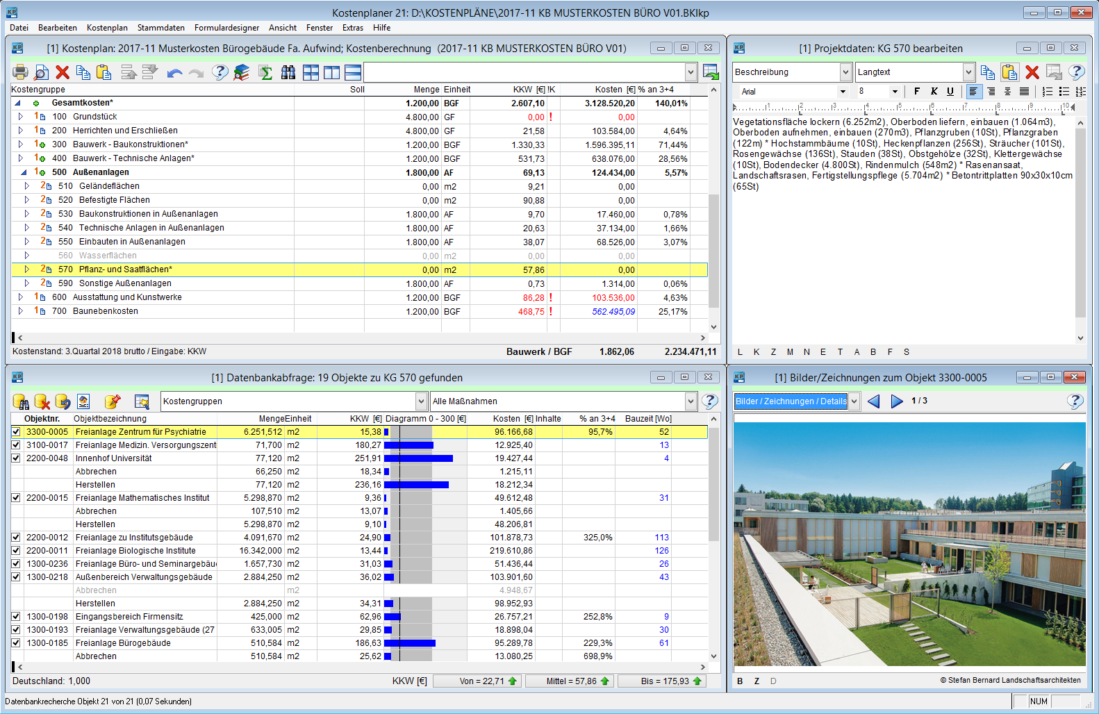 Hauptfenster Kostenplan mit Projektdaten, Datenbankabfrage und Info zum Objekt